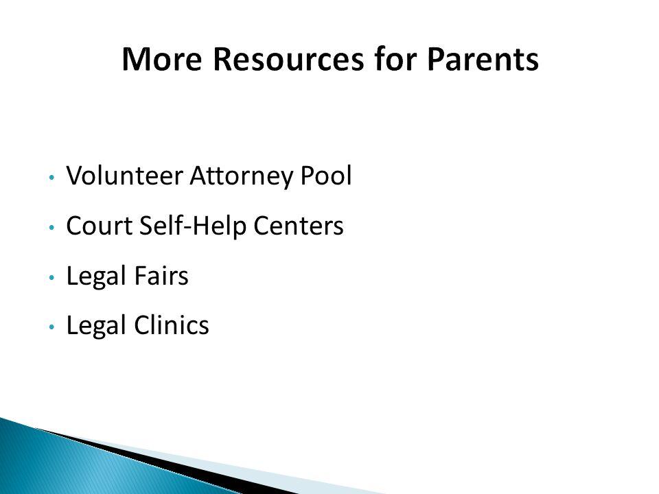 Volunteer Attorney Pool Court Self-Help Centers Legal Fairs Legal Clinics