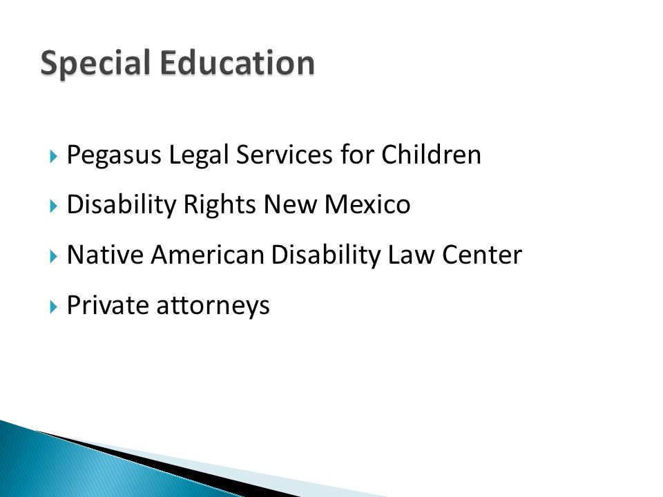  Pegasus Legal Services for Children  Disability Rights New Mexico  Native American Disability Law Center  Private attorneys