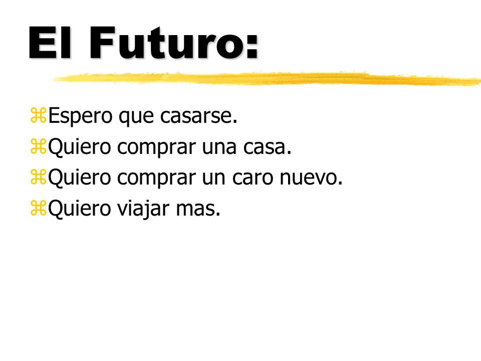 El Futuro: zEspero que casarse. zQuiero comprar una casa.