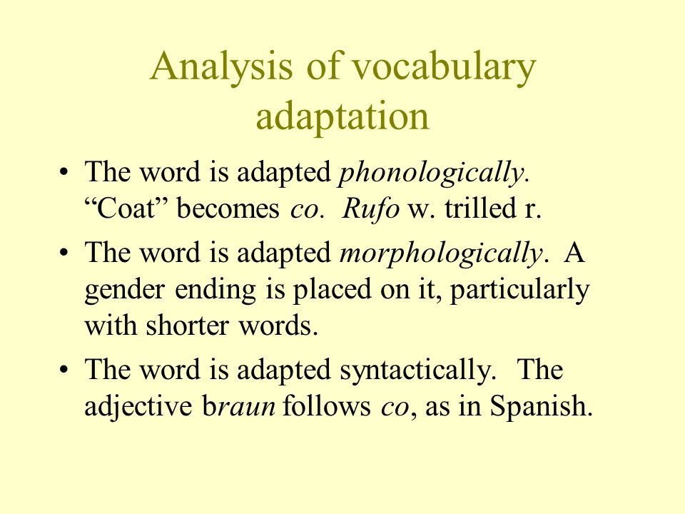 Analysis of vocabulary adaptation The word is adapted phonologically.
