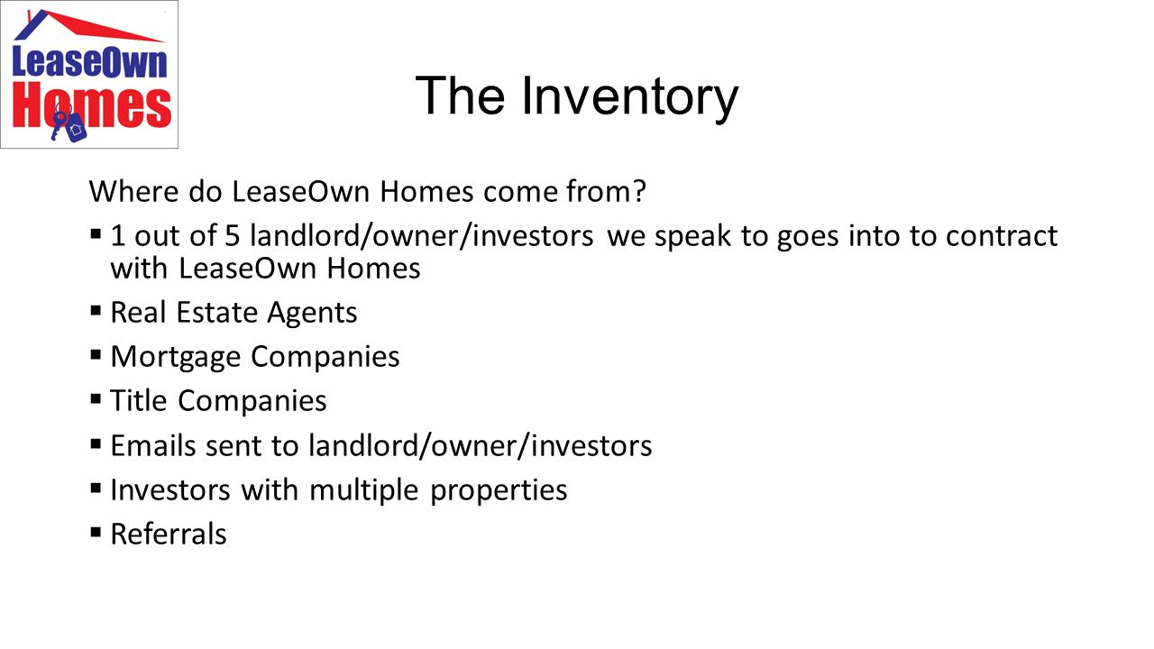 The Inventory Where do LeaseOwn Homes come from.