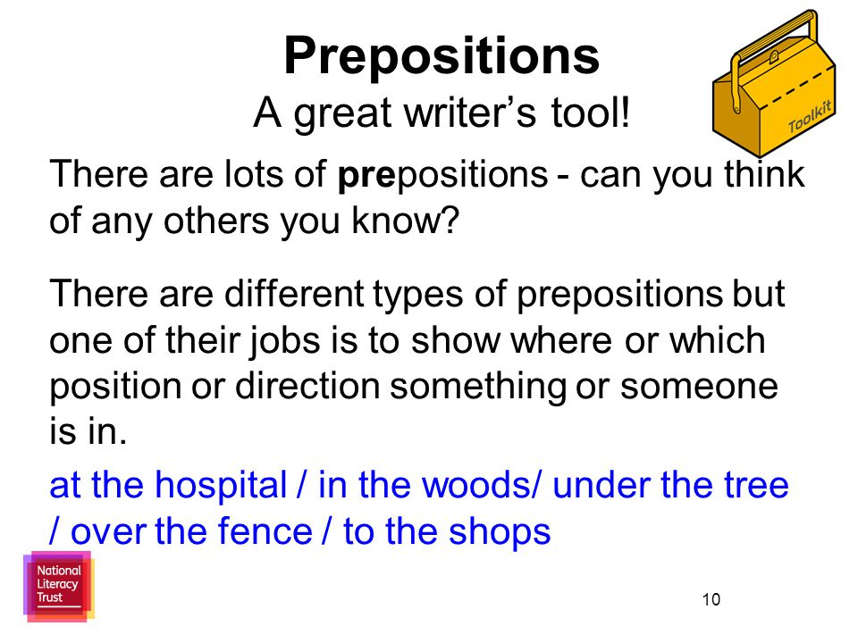 10 Prepositions A great writer's tool.