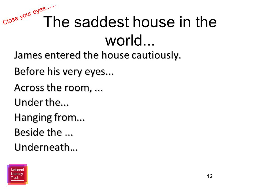 12 The saddest house in the world... James entered the house cautiously.