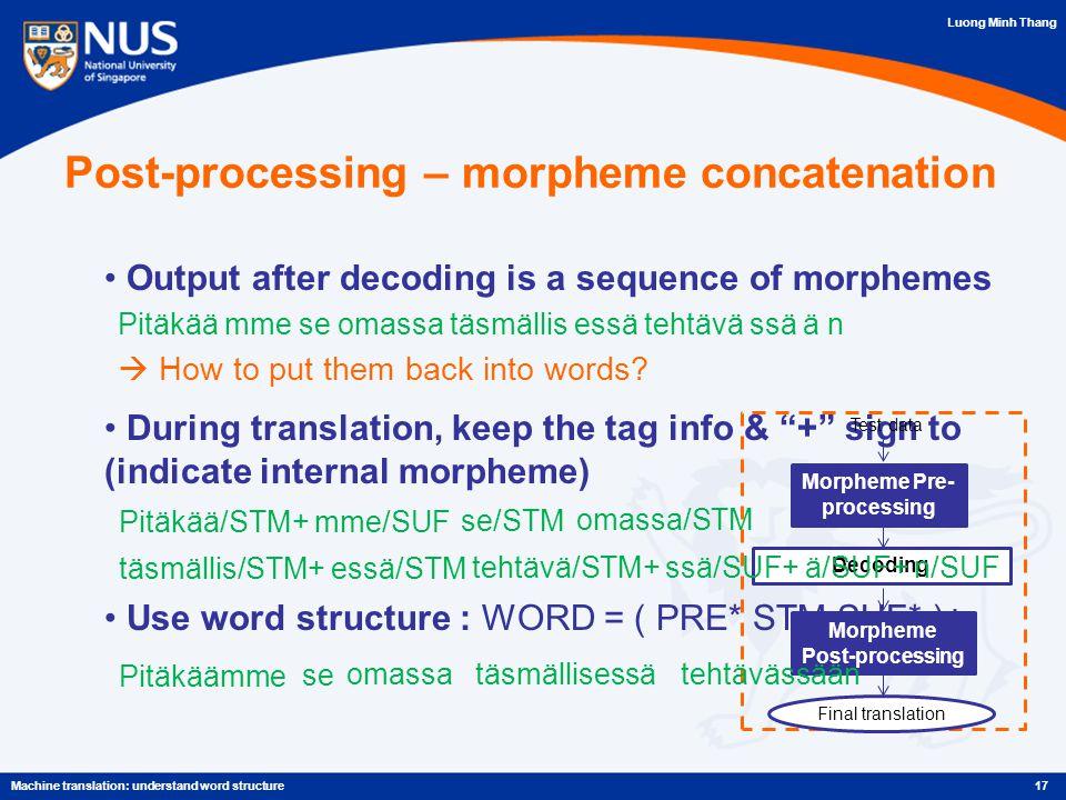 Luong Minh Thang Post-processing – morpheme concatenation Output after decoding is a sequence of morphemes Pitäkää mme se omassa täsmällis essä tehtävä ssä ä n  How to put them back into words.