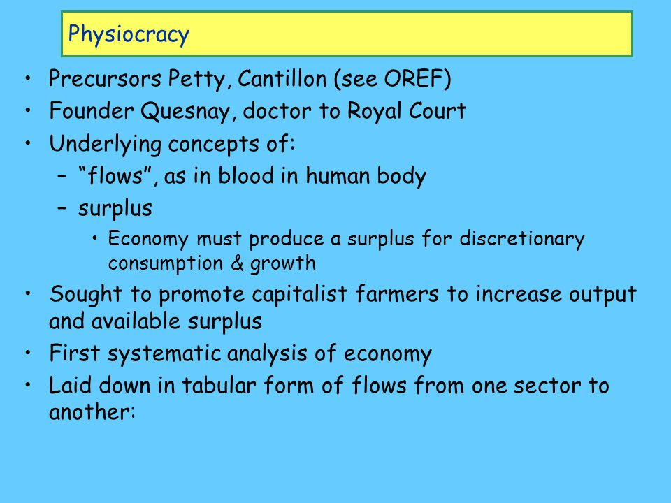 Physiocracy Precursors Petty, Cantillon (see OREF) Founder Quesnay, doctor to Royal Court Underlying concepts of: – flows , as in blood in human body –surplus Economy must produce a surplus for discretionary consumption & growth Sought to promote capitalist farmers to increase output and available surplus First systematic analysis of economy Laid down in tabular form of flows from one sector to another: