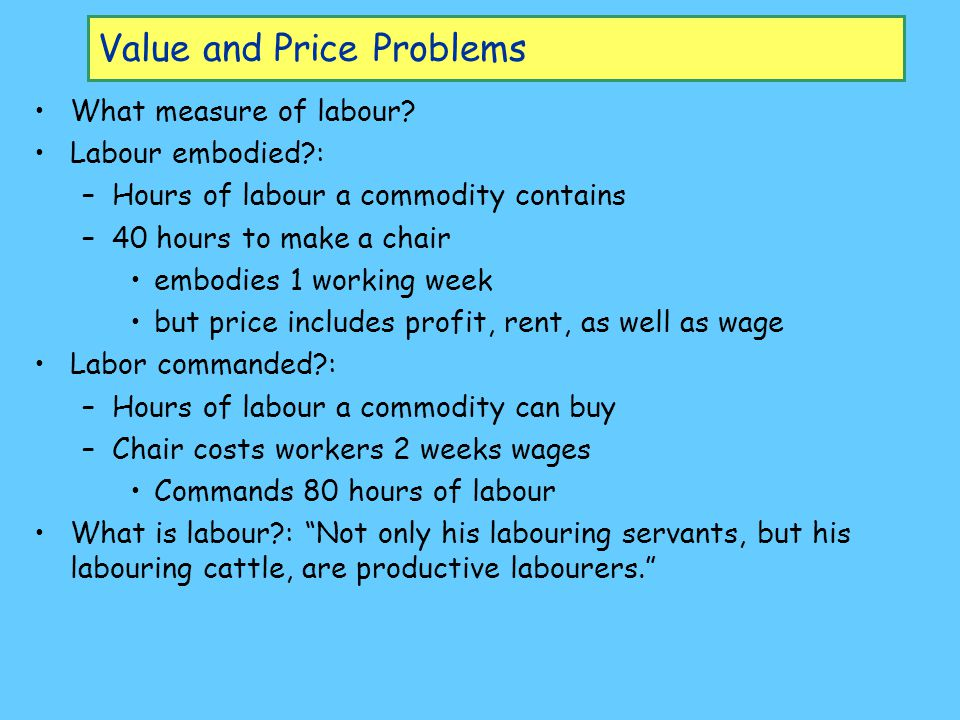 Value and Price Problems What measure of labour.