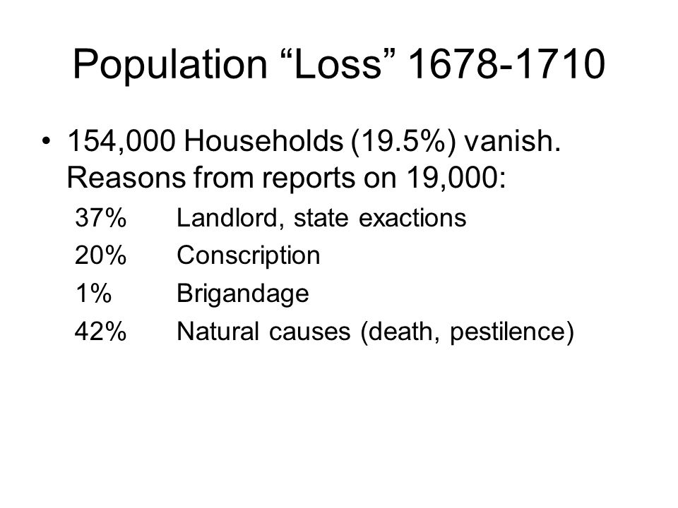 """Population """"Loss"""" 1678-1710 154,000 Households (19.5%) vanish. Reasons from reports on 19,000: 37%Landlord, state exactions 20%Conscription 1%Briganda"""