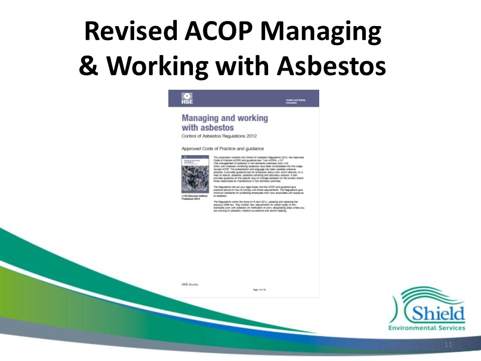 Revised ACOP Managing & Working with Asbestos 11