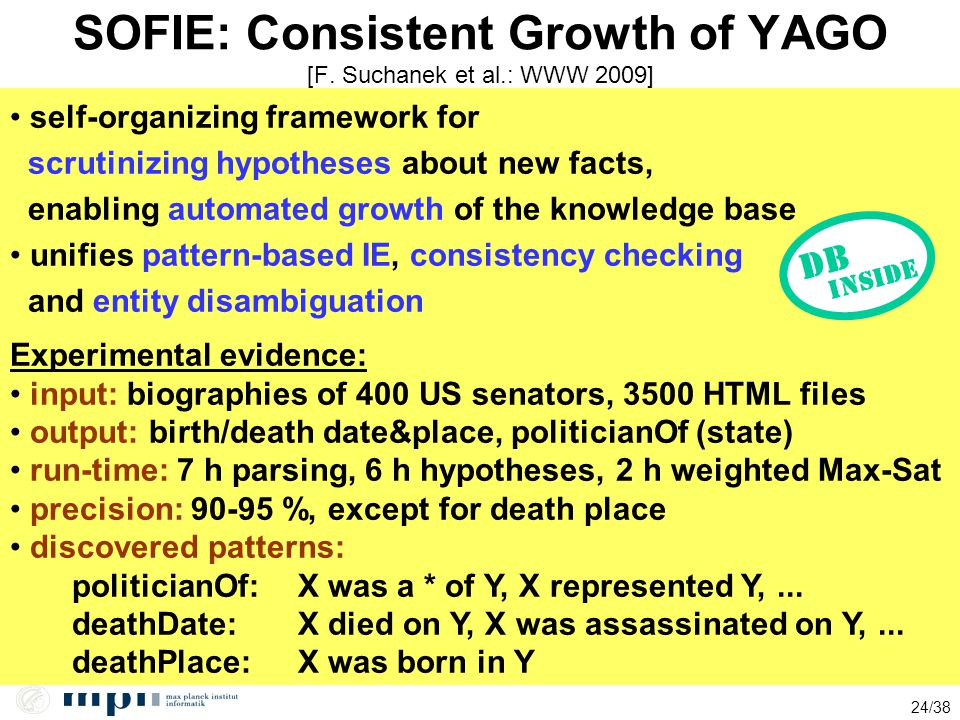 24/38 SOFIE: Consistent Growth of YAGO [F. Suchanek et al.: WWW 2009] self-organizing framework for scrutinizing hypotheses about new facts, enabling