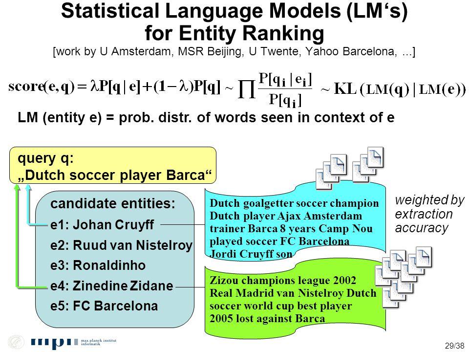 29/38 Statistical Language Models (LM's) for Entity Ranking [work by U Amsterdam, MSR Beijing, U Twente, Yahoo Barcelona,...] LM (entity e) = prob. di
