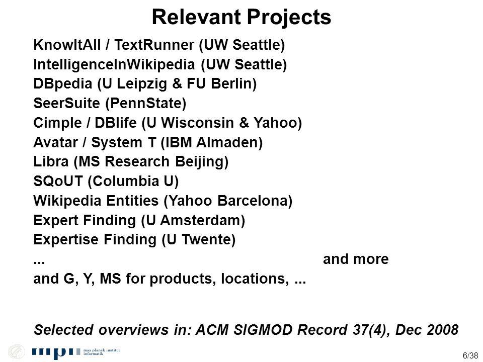 6/38 Relevant Projects KnowItAll / TextRunner (UW Seattle) IntelligenceInWikipedia (UW Seattle) DBpedia (U Leipzig & FU Berlin) SeerSuite (PennState)