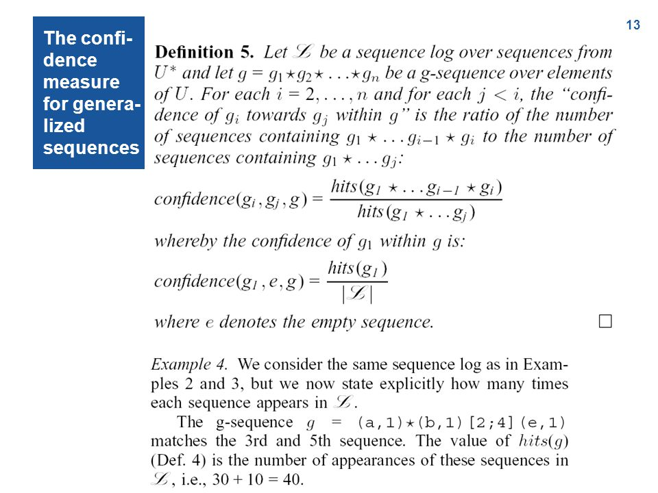 13 The confi- dence measure for genera- lized sequences