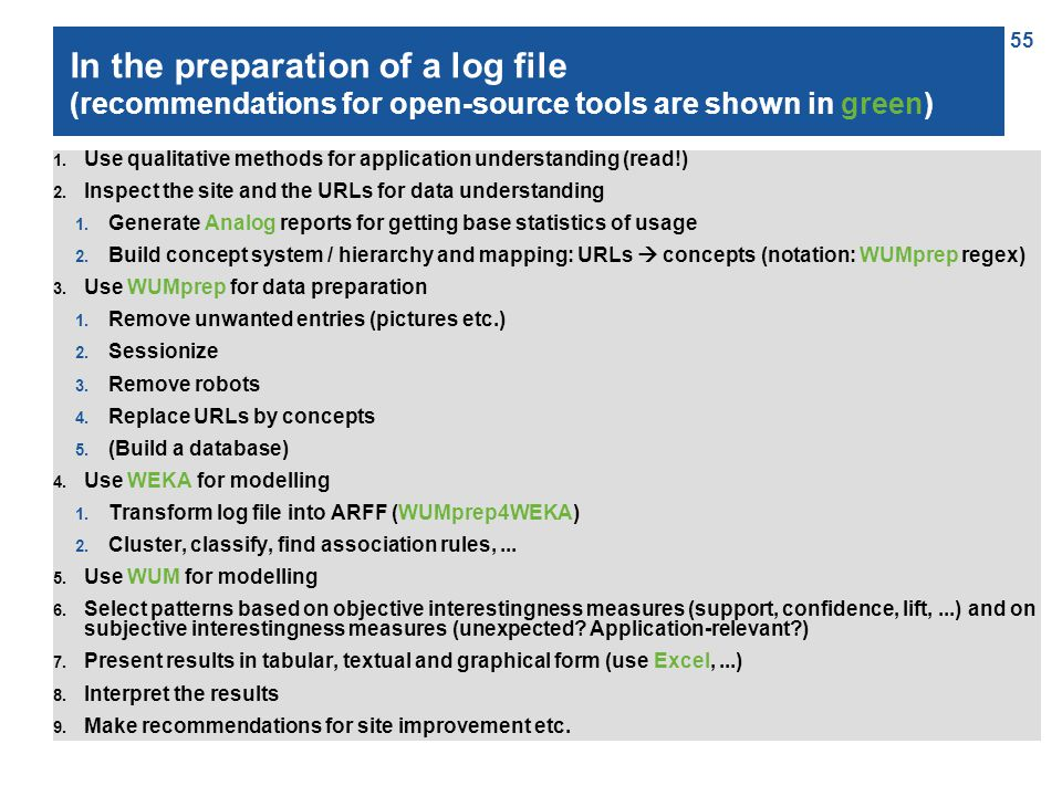 55 In the preparation of a log file (recommendations for open-source tools are shown in green) 1.