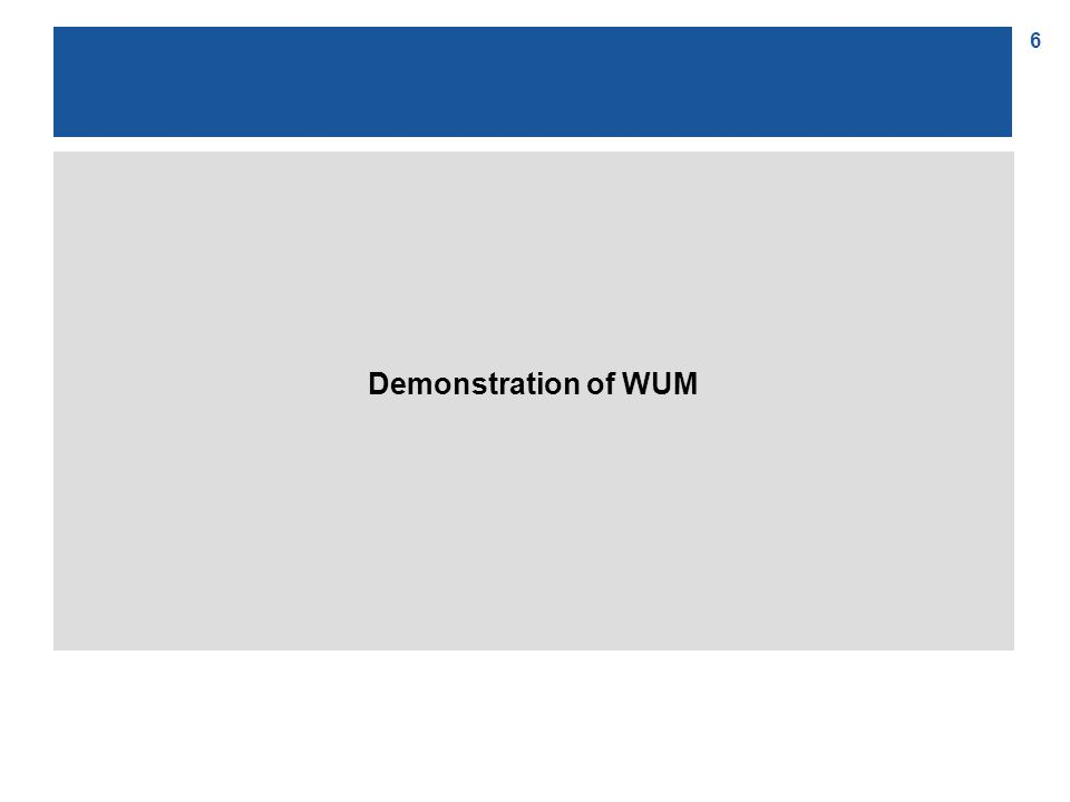 6 Demonstration of WUM