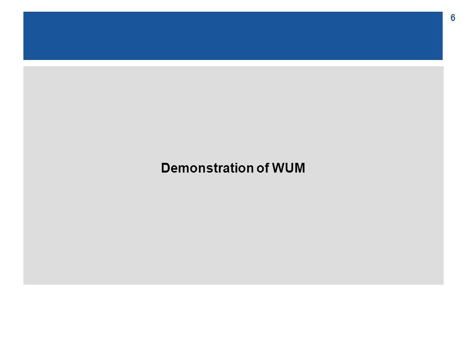 17 The basic idea of the WUM algorithm