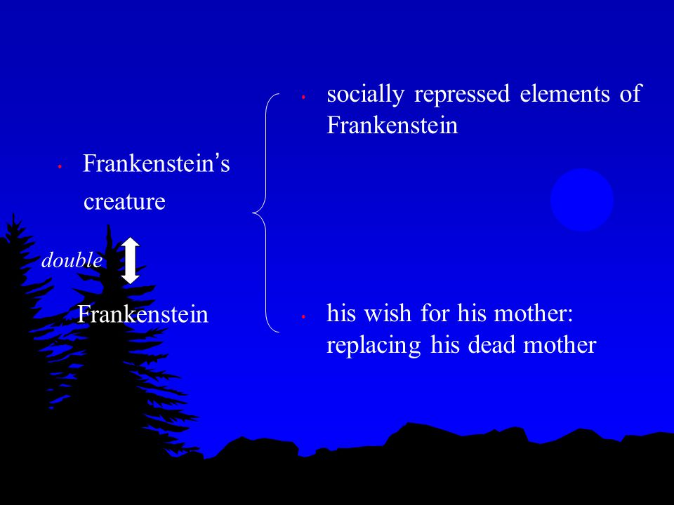 Frankenstein ' s creature: comprises of the unacceptable traits of humans (what humans suppress, or should suppress) : villainy, murderous thoughts, revenge, etc Those traits – Frankenstein had but suppressed