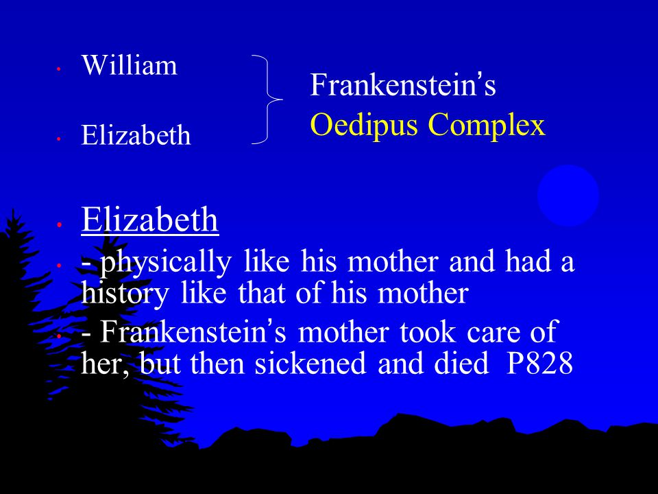 Rejecting Elizabeth Death of Elizabeth - Monster ' s words: I shall be with you on your wedding-night P897 - After receiving the letter from Elizabeth P906 - The letter revived in my memory what I had before forgotten, the threat of the fined- I shall be with you on your wedding-night P907 - After Frankenstein ' s marriage to Elizabeth: in the inn - She left me, and I continued some time walking up and down the passages of the house P911 Perhaps deep down Frankenstein wanted to be rid of Elizabeth