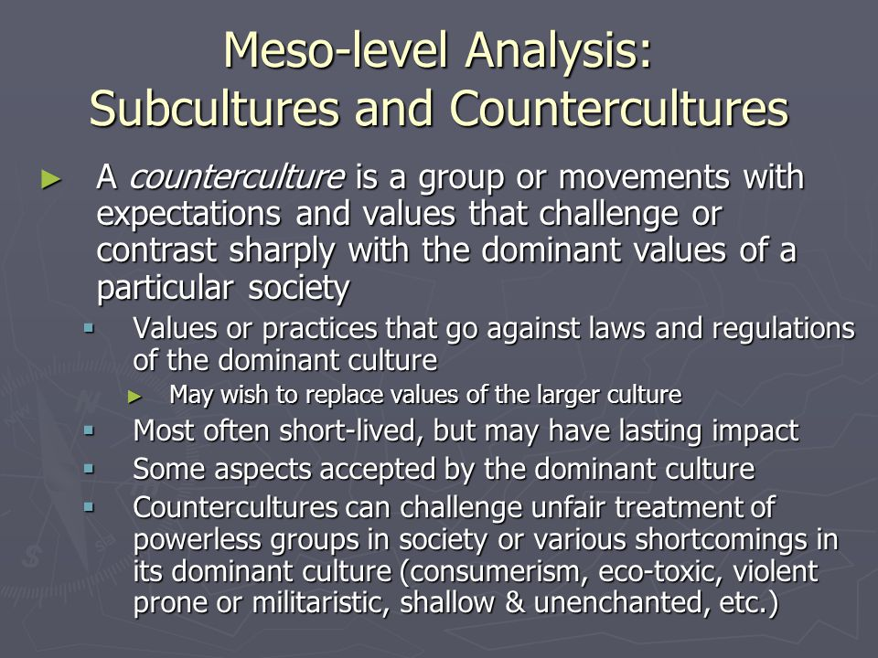 Meso-level Analysis: Subcultures and Countercultures ► A counterculture is a group or movements with expectations and values that challenge or contrast sharply with the dominant values of a particular society  Values or practices that go against laws and regulations of the dominant culture ► May wish to replace values of the larger culture  Most often short-lived, but may have lasting impact  Some aspects accepted by the dominant culture  Countercultures can challenge unfair treatment of powerless groups in society or various shortcomings in its dominant culture (consumerism, eco-toxic, violent prone or militaristic, shallow & unenchanted, etc.)