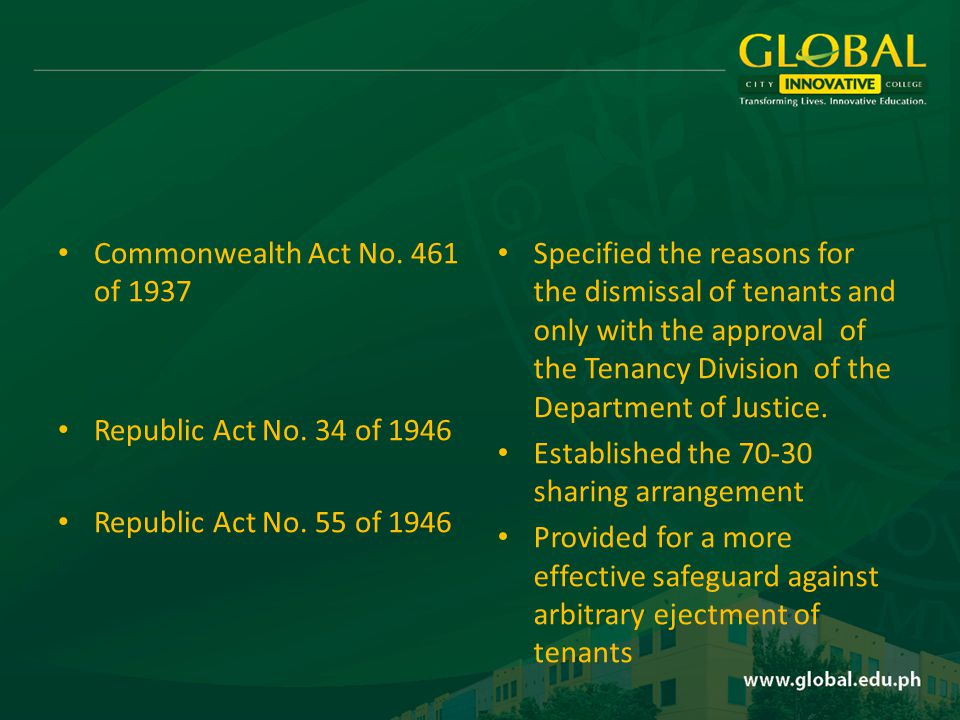 Commonwealth Act No. 461 of 1937 Republic Act No.