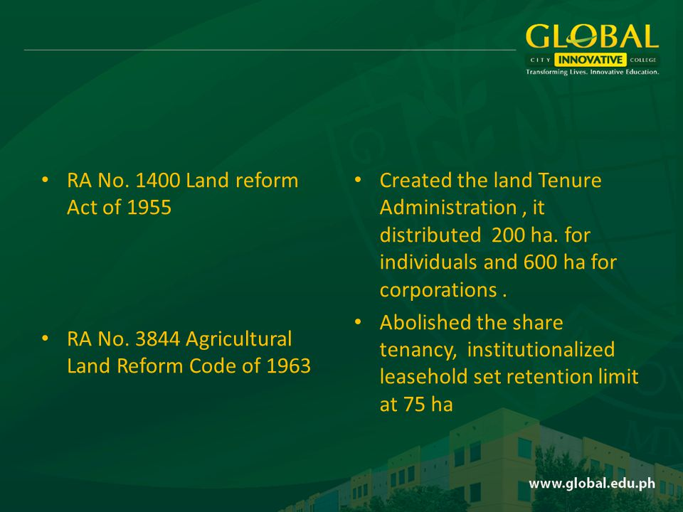 RA No. 1400 Land reform Act of 1955 RA No.