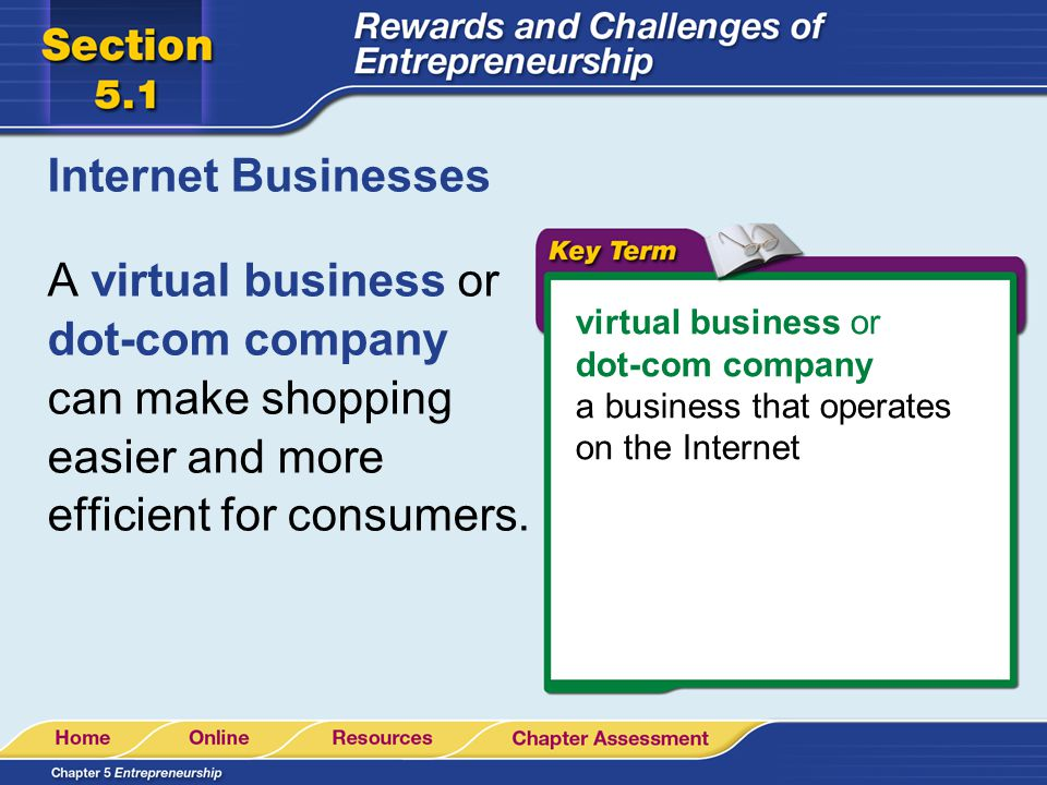 Internet Businesses A virtual business or dot-com company can make shopping easier and more efficient for consumers. virtual business or dot-com compa