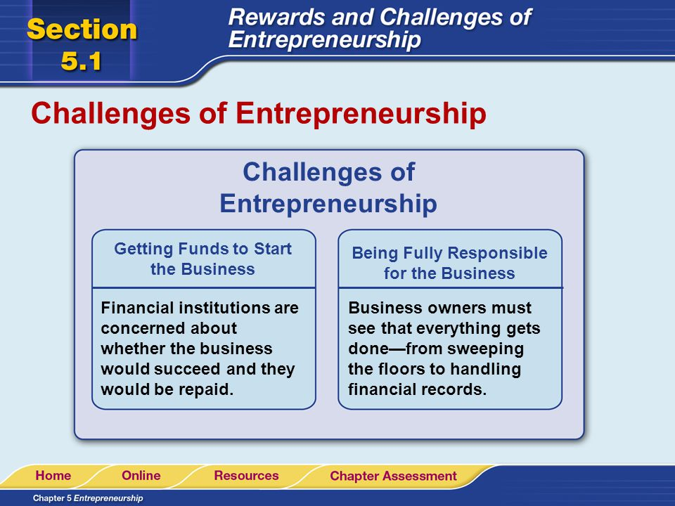 Challenges of Entrepreneurship Getting Funds to Start the Business Financial institutions are concerned about whether the business would succeed and t
