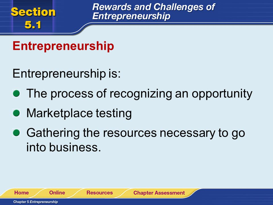 Entrepreneurship Entrepreneurship is: The process of recognizing an opportunity Marketplace testing Gathering the resources necessary to go into busin