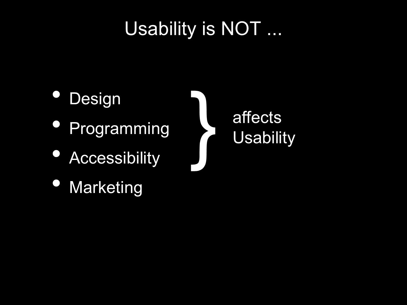 Usability is NOT... Design Programming Accessibility Marketing } affects Usability
