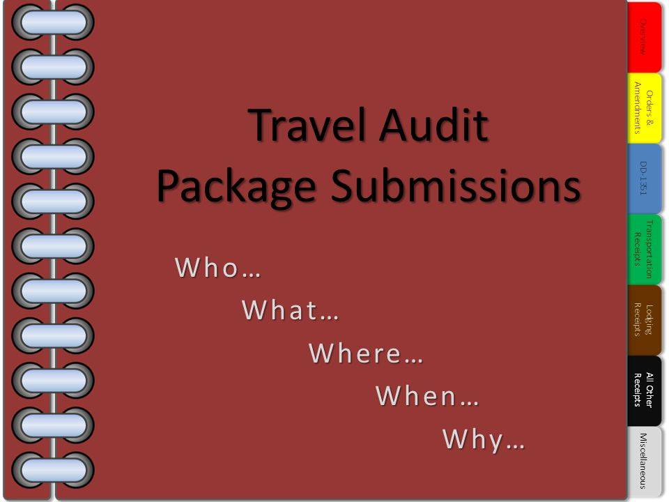 Travel Audit Package Submissions Who…What…Where…When…Why… Overview Orders & Amendments DD-1351 Transportation Receipts Lodging Receipts All Other Rece
