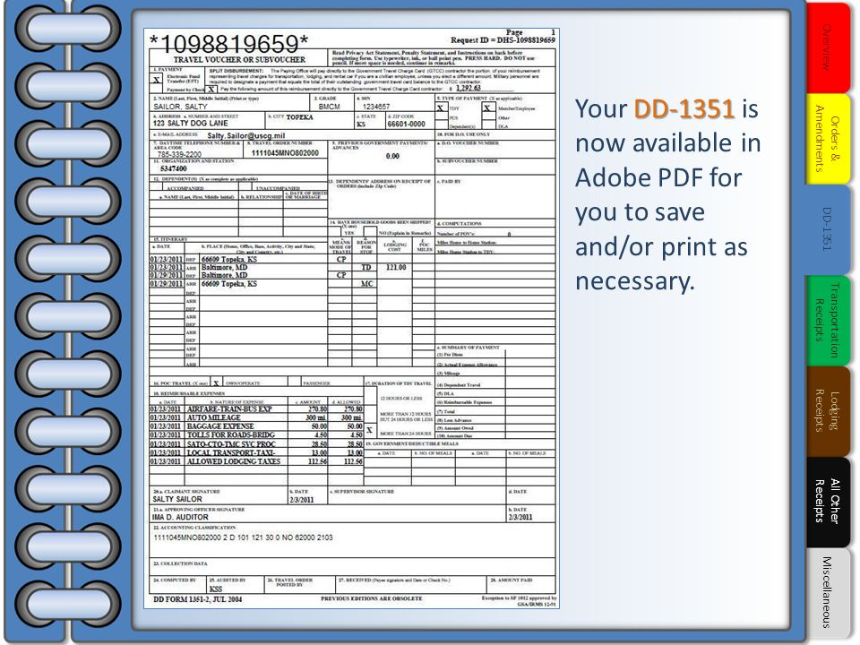 DD-1351 Your DD-1351 is now available in Adobe PDF for you to save and/or print as necessary. Overview Orders & Amendments DD-1351 Transportation Rece