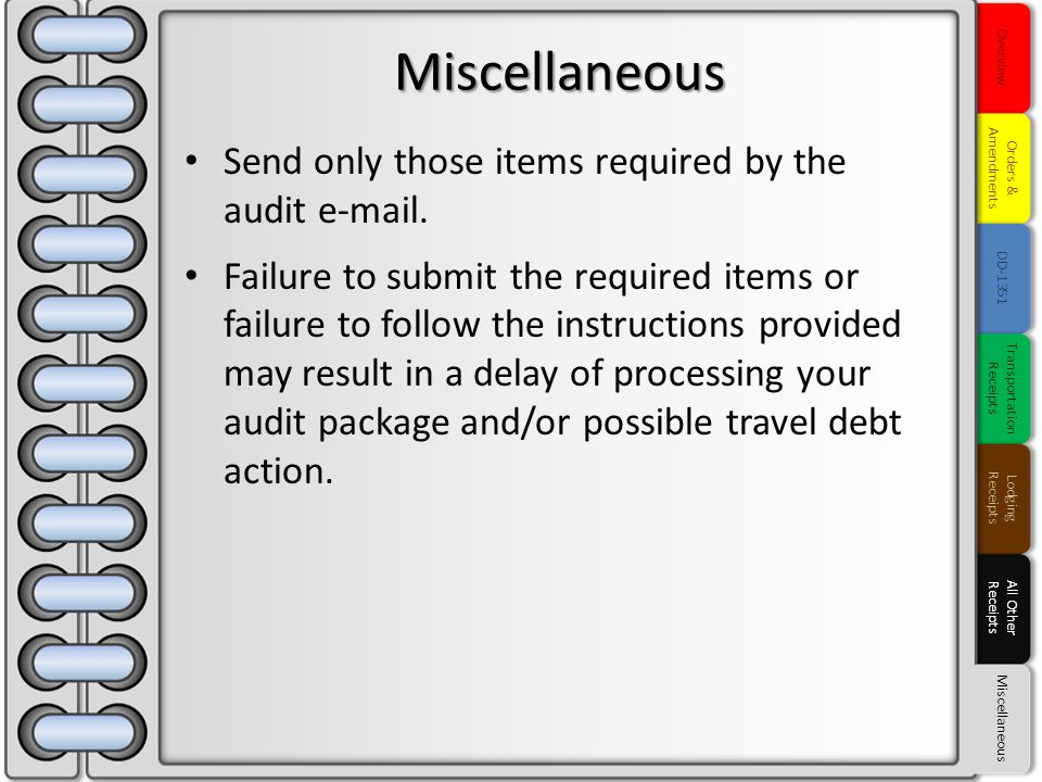 Send only those items required by the audit e-mail. Failure to submit the required items or failure to follow the instructions provided may result in