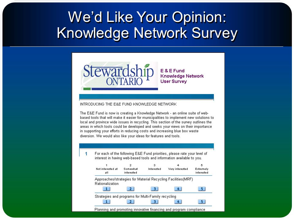 We'd Like Your Opinion: Knowledge Network Survey
