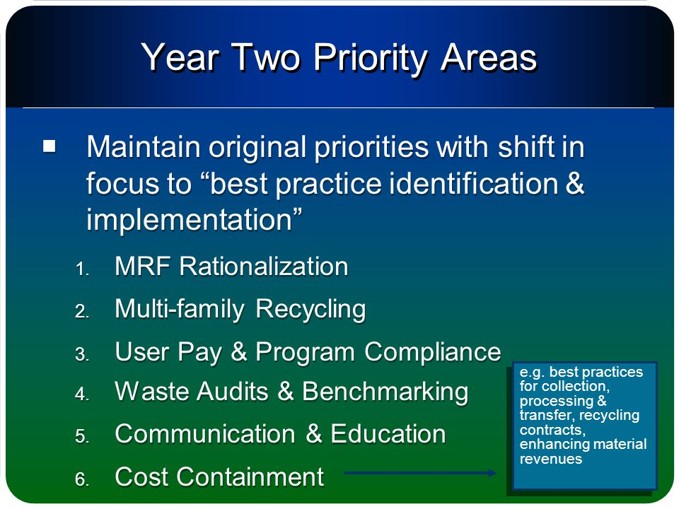 Year Two Priority Areas  Maintain original priorities with shift in focus to best practice identification & implementation 1.