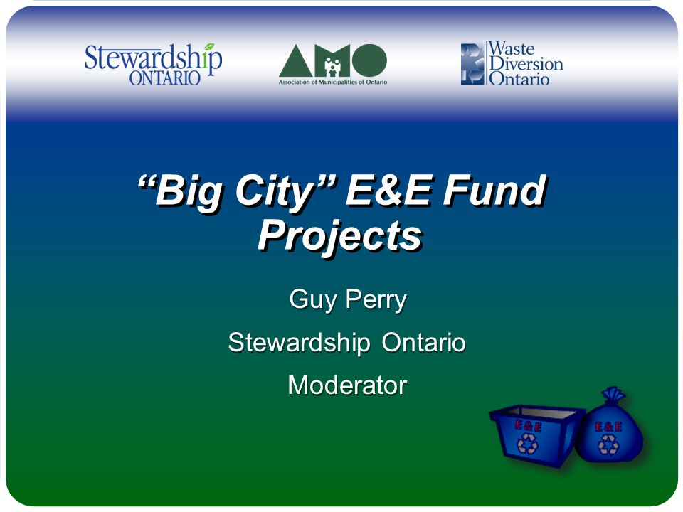Big City E&E Fund Projects Guy Perry Stewardship Ontario Moderator Guy Perry Stewardship Ontario Moderator