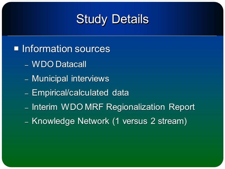 Study Details  Information sources – WDO Datacall – Municipal interviews – Empirical/calculated data – Interim WDO MRF Regionalization Report – Knowl