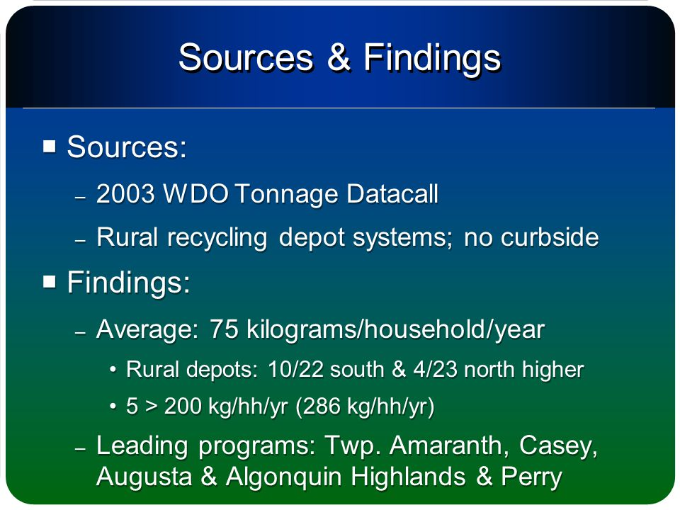 Sources & Findings  Sources: – 2003 WDO Tonnage Datacall – Rural recycling depot systems; no curbside  Findings: – Average: 75 kilograms/household/year Rural depots: 10/22 south & 4/23 north higher 5 > 200 kg/hh/yr (286 kg/hh/yr) – Leading programs: Twp.