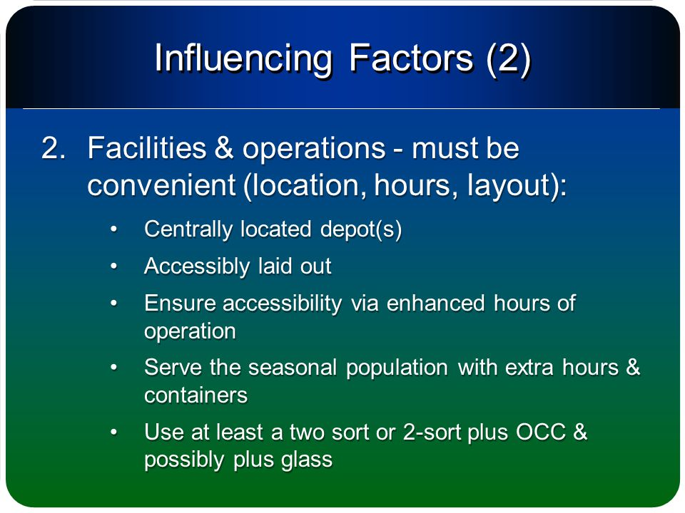 Influencing Factors (2) 2.Facilities & operations - must be convenient (location, hours, layout): Centrally located depot(s) Accessibly laid out Ensure accessibility via enhanced hours of operation Serve the seasonal population with extra hours & containers Use at least a two sort or 2-sort plus OCC & possibly plus glass 2.Facilities & operations - must be convenient (location, hours, layout): Centrally located depot(s) Accessibly laid out Ensure accessibility via enhanced hours of operation Serve the seasonal population with extra hours & containers Use at least a two sort or 2-sort plus OCC & possibly plus glass