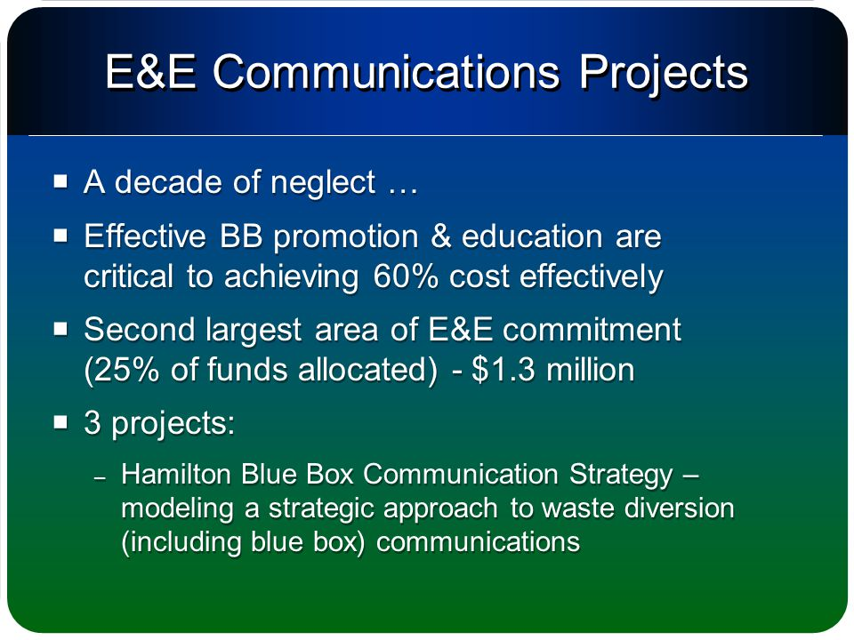 E&E Communications Projects  A decade of neglect …  Effective BB promotion & education are critical to achieving 60% cost effectively  Second largest area of E&E commitment (25% of funds allocated) - $1.3 million  3 projects: – Hamilton Blue Box Communication Strategy – modeling a strategic approach to waste diversion (including blue box) communications  A decade of neglect …  Effective BB promotion & education are critical to achieving 60% cost effectively  Second largest area of E&E commitment (25% of funds allocated) - $1.3 million  3 projects: – Hamilton Blue Box Communication Strategy – modeling a strategic approach to waste diversion (including blue box) communications