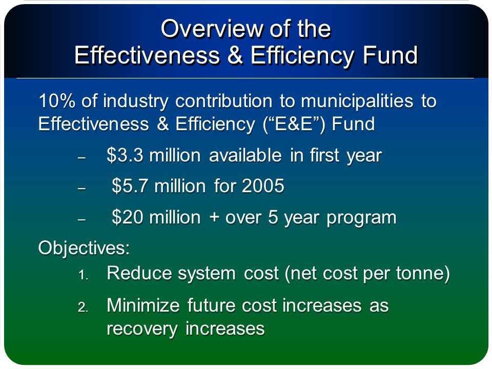 Overview of the Effectiveness & Efficiency Fund 10% of industry contribution to municipalities to Effectiveness & Efficiency ( E&E ) Fund – $3.3 million available in first year – $5.7 million for 2005 – $20 million + over 5 year program Objectives: 1.