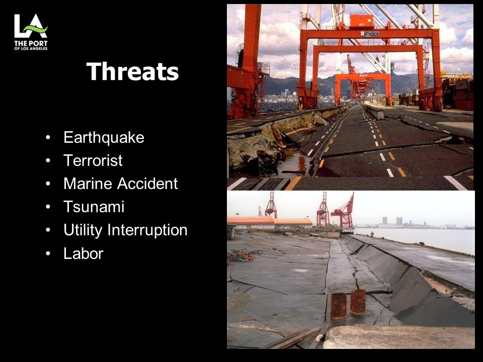 Threats Earthquake Terrorist Marine Accident Tsunami Utility Interruption Labor 7