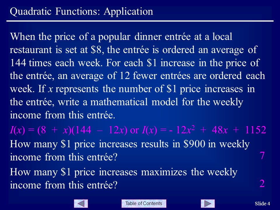 Table of Contents Quadratic Functions: Application Slide 4 When the price of a popular dinner entrée at a local restaurant is set at $8, the entrée is ordered an average of 144 times each week.