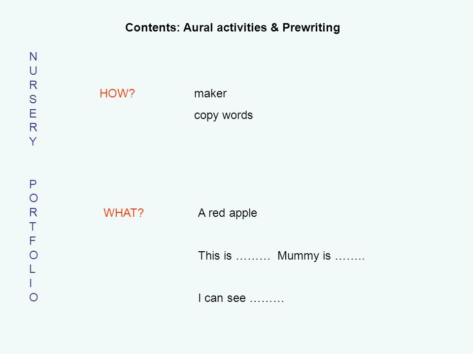 NURSERYPORTFOLIONURSERYPORTFOLIO Contents: Aural activities & Prewriting HOW.