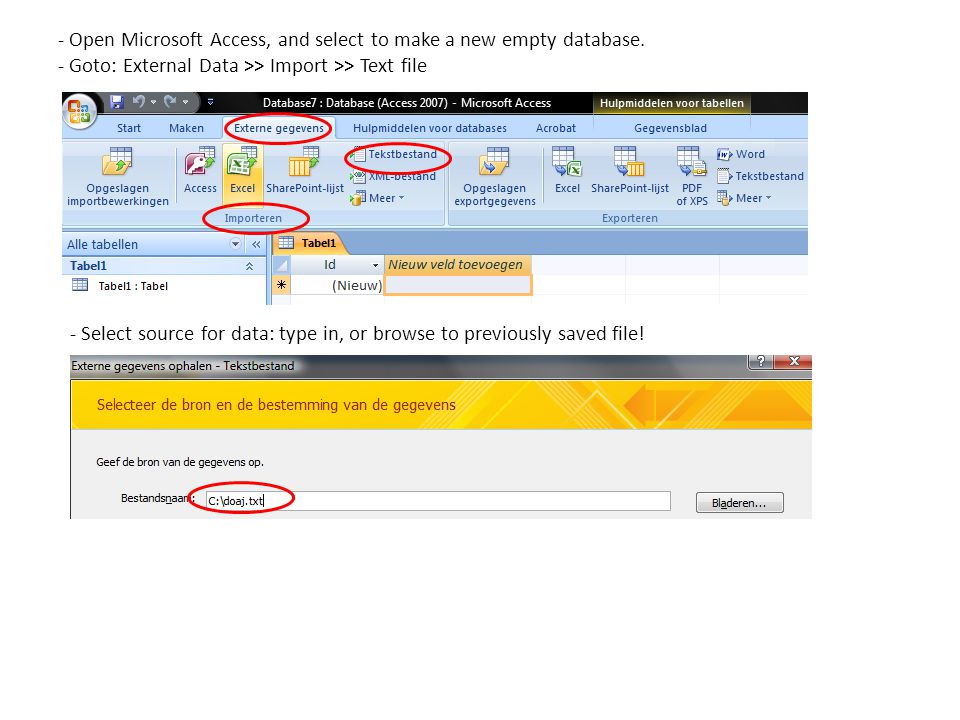 - Open Microsoft Access, and select to make a new empty database.