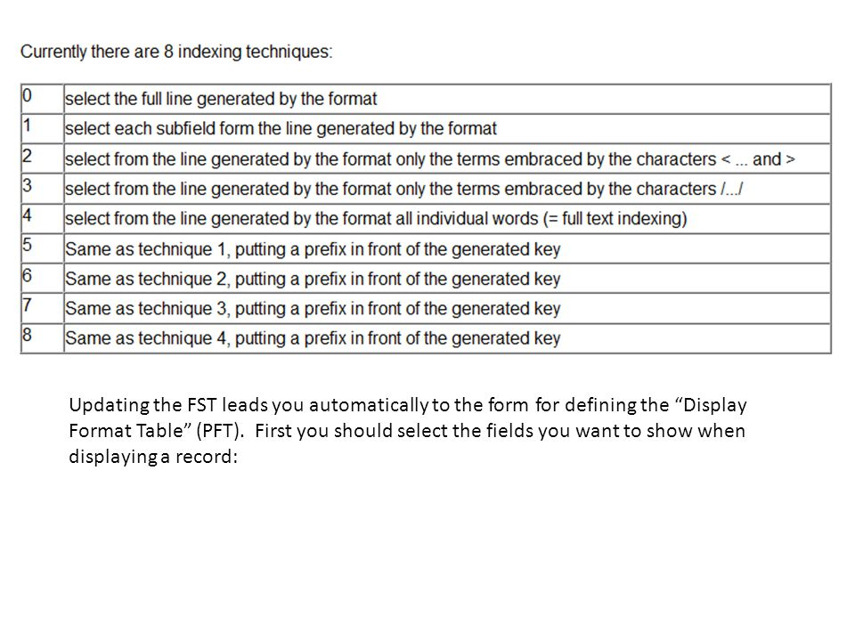 Updating the FST leads you automatically to the form for defining the Display Format Table (PFT).