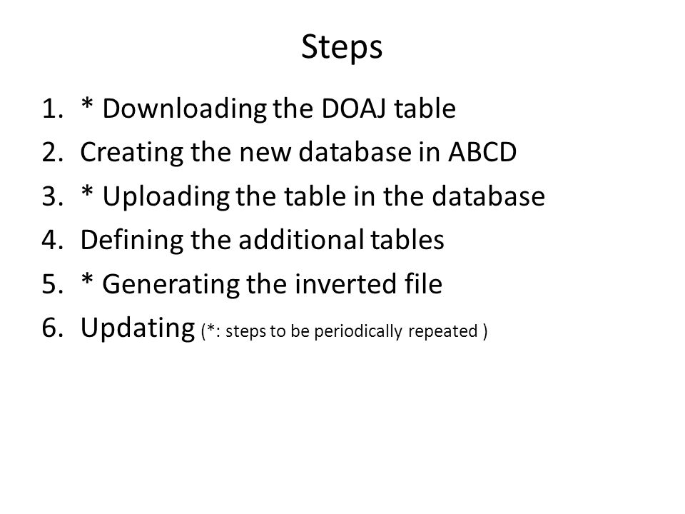 2. Creating the new database in ABCD and from there:
