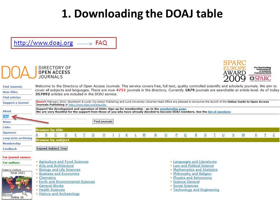 http://www.doaj.orghttp://www.doaj.org FAQ 1. Downloading the DOAJ table
