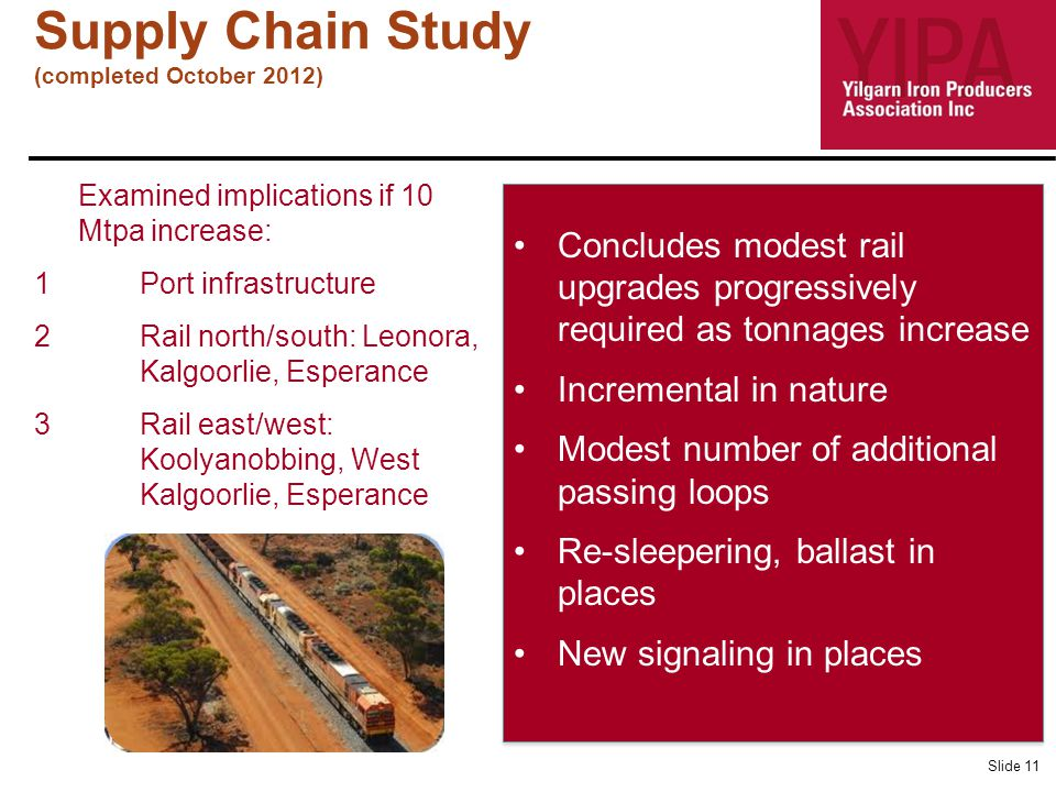 Supply Chain Study (completed October 2012) Slide 11 Examined implications if 10 Mtpa increase: 1Port infrastructure R 2Rail north/south: Leonora, Kalgoorlie, Esperance 3Rail east/west: Koolyanobbing, West Kalgoorlie, Esperance Concludes modest rail upgrades progressively required as tonnages increase Incremental in nature Modest number of additional passing loops Re-sleepering, ballast in places New signaling in places Concludes modest rail upgrades progressively required as tonnages increase Incremental in nature Modest number of additional passing loops Re-sleepering, ballast in places New signaling in places