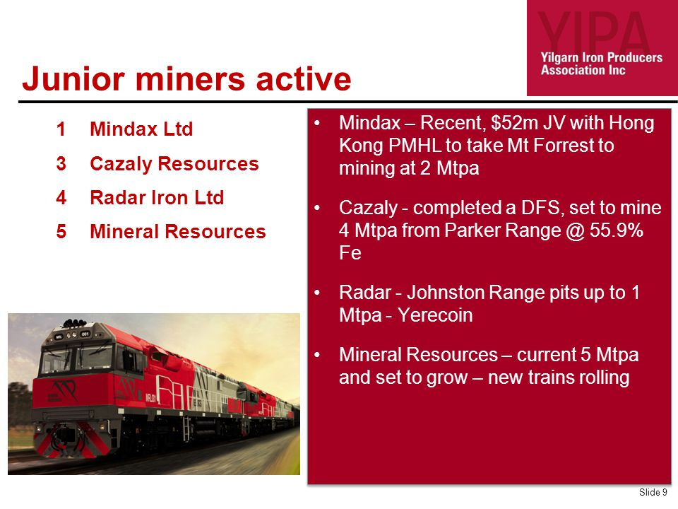 Mindax – Recent, $52m JV with Hong Kong PMHL to take Mt Forrest to mining at 2 Mtpa Cazaly - completed a DFS, set to mine 4 Mtpa from Parker Range @ 5