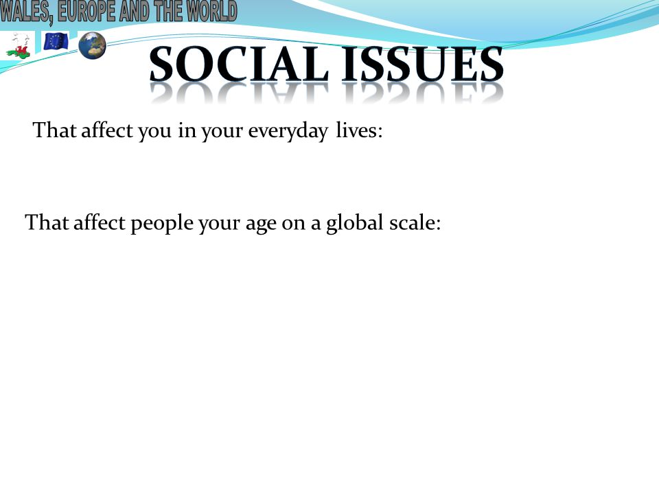 That affect you in your everyday lives: That affect people your age on a global scale: