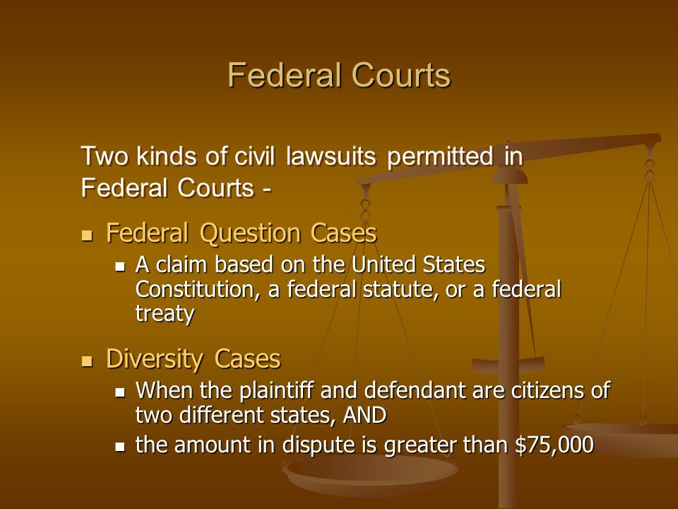 Federal Courts Federal Question Cases Federal Question Cases A claim based on the United States Constitution, a federal statute, or a federal treaty A claim based on the United States Constitution, a federal statute, or a federal treaty Diversity Cases Diversity Cases When the plaintiff and defendant are citizens of two different states, AND When the plaintiff and defendant are citizens of two different states, AND the amount in dispute is greater than $75,000 the amount in dispute is greater than $75,000 Two kinds of civil lawsuits permitted in Federal Courts -